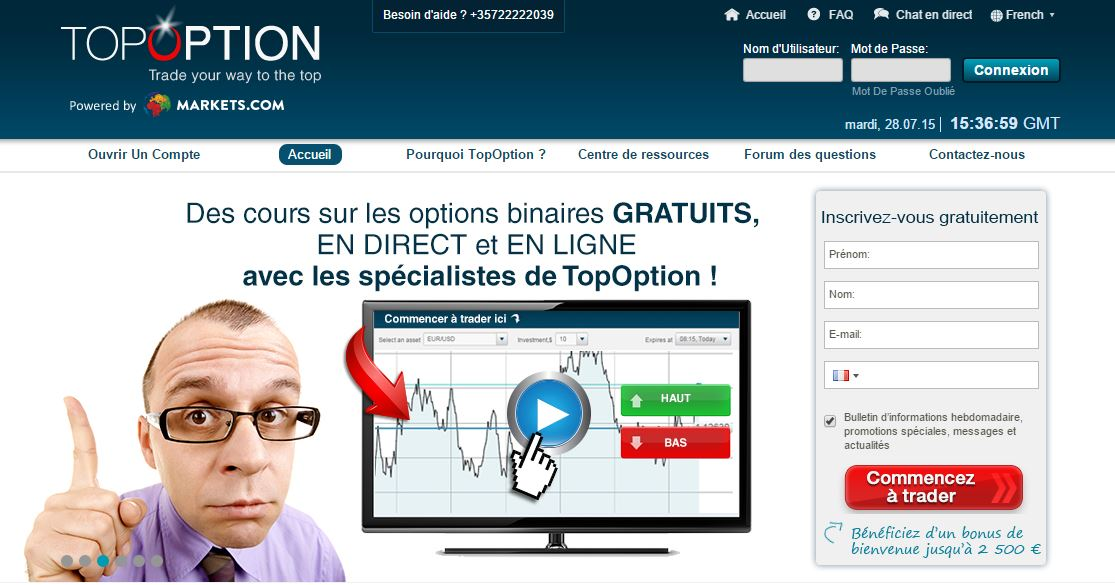 chat pour les options binaires