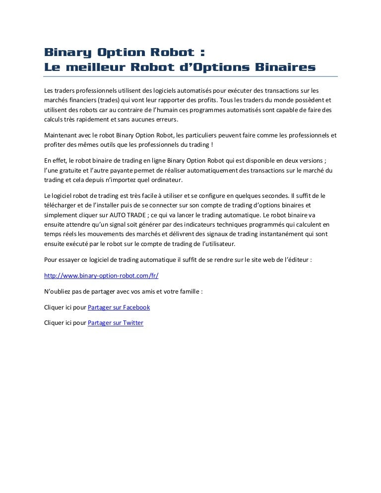 mes options rentabilité possible des robots de trading