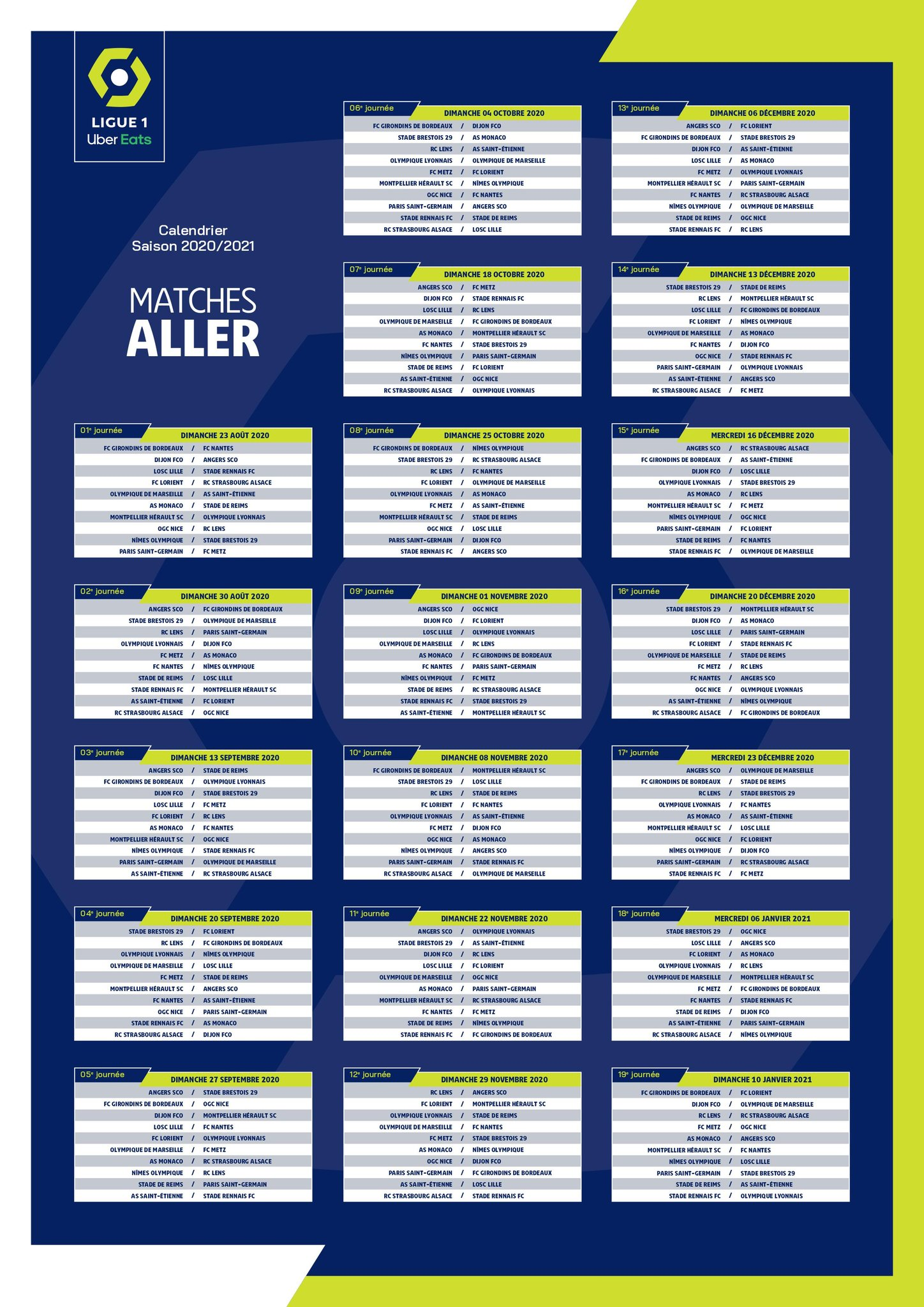 options de diffusion du calendrier